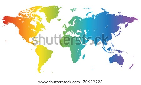Multicolored high quality map of the World. Raster version. Vector version is also available.