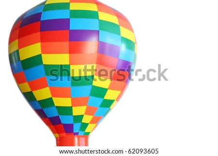 multicolored hot-air balloon toy isolated on white background, half view #62093605