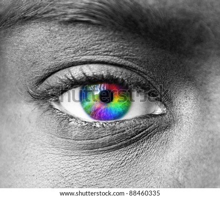 Multicolored human eye macro shot