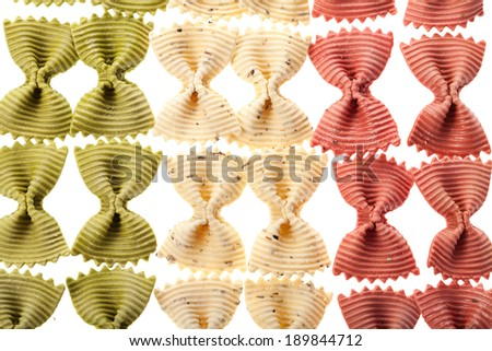 Multicolored italian pasta background as Italy flag