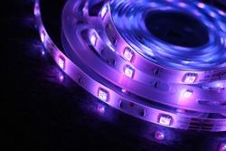 Multicolored LED strip, luminous ribbon for cold light interior lighting