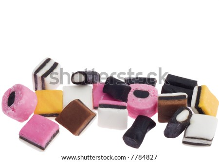 multicolored liquorice candy isolated on white background - licorice allsorts