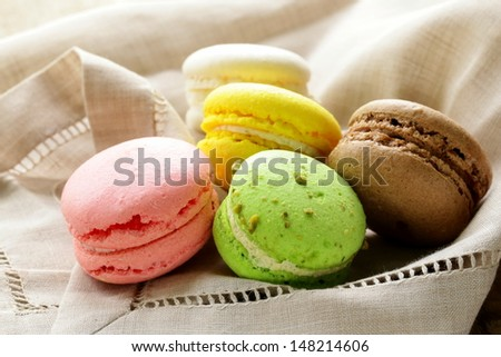 multicolored macaroon cookies, traditional French pastries