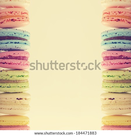 multicolored macaroon with space for text