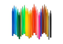 Multicolored markers or felt-tip pens isolated on white background