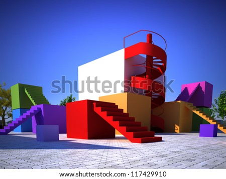 Multicolored modern built structure