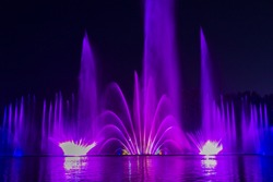 Multicolored musical fountain on a lake at night