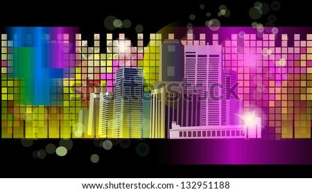 Multicolored night city. Raster