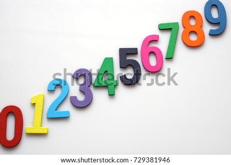 Multicolored number letters  are lined on White background with empty space. Education or business concept.                                                      #729381946