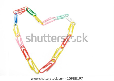 multicolored paper-clip like heart on the white isolated background