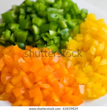 Multicolored paprika slices