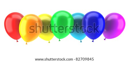 multicolored party balloons isolated on white background