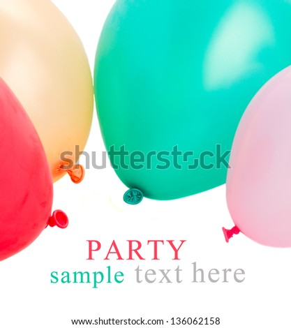 multicolored party baloons isolated on white background