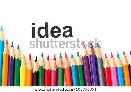 Multicolored pencils isolated on a white background