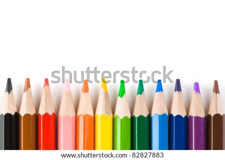 Multicolored pencils isolated on white background