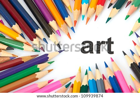 Multicolored pencils isolated on white background love art