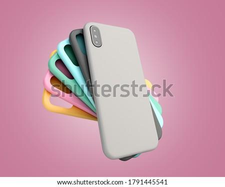 multicolored phone cases presentation for showcase 3d render on pinck gradient ストックフォト ©
