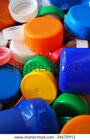 Multicolored plastic bottle caps for recycling