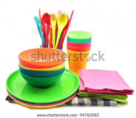 Multicolored plastic dinnerware