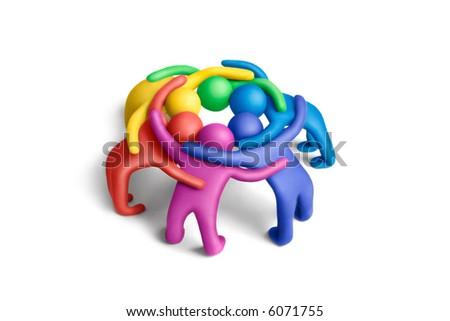 Multicolored plasticine embraced  human figures concluding a treaty