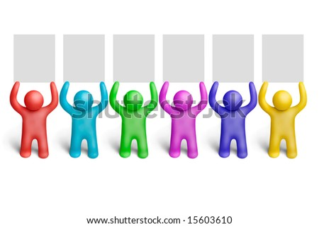 Multicolored plasticine human figures demonstration - stock photo