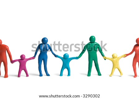 Multicolored plasticine human figures in a row on a white background