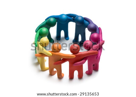 Multicolored plasticine human figures on a white background