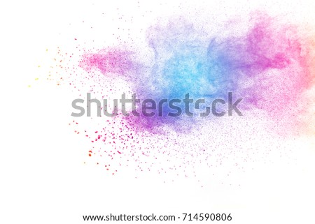 Multicolored powder explosion on white background. #714590806