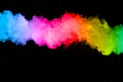 Multicolored powder splash cloud isolated on black background