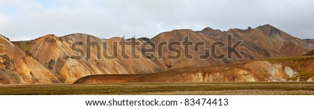 Multicolored rhyolite mountains in Landmannalaugar, Fjallabak Nature Reserve, Iceland