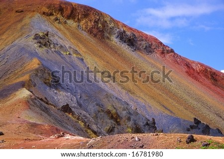 Multicolored slope in the Landmannalaugar volcanic landscape, Iceland