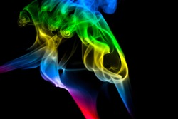 MULTICOLORED SMOKE PHOTOGRAPHY AGAINST BLACK BACKGROUND
