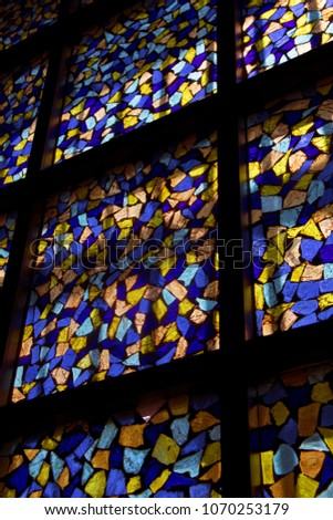 multicolored stained glass  #1070253179