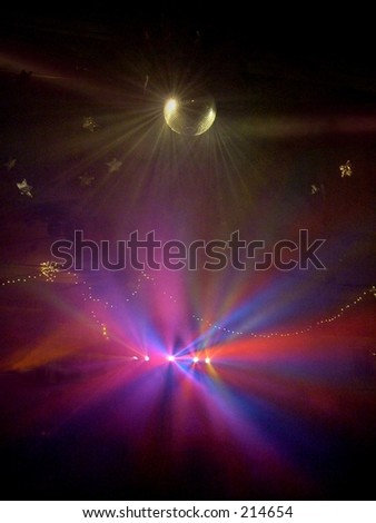 Multicolored Strobe Lights on Mirror Ball at Party