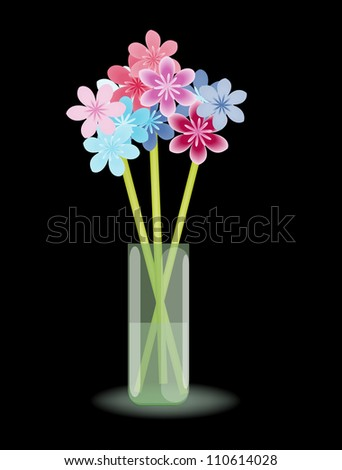 Multicolored stylized flowers in vase with water