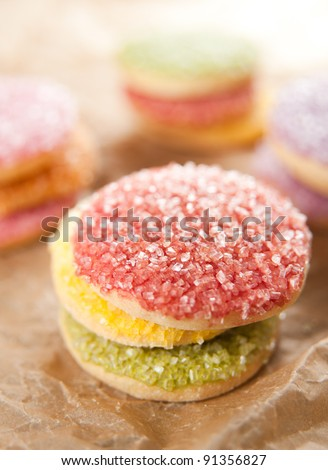 Multicolored Sugar Cookies in Red, Yellow, Green, Orange and Purple Color