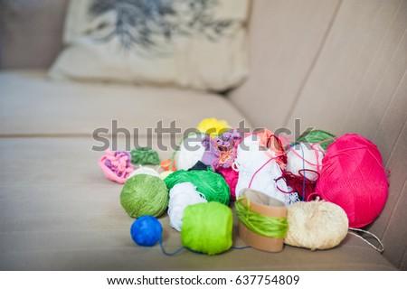 Multicolored tangles of yarn. Multicolored threads  #637754809