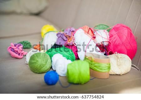 Multicolored tangles of yarn. Multicolored threads  #637754824