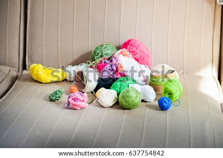 Multicolored tangles of yarn. Multicolored threads  #637754842