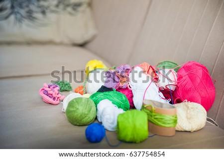Multicolored tangles of yarn. Multicolored threads  #637754854