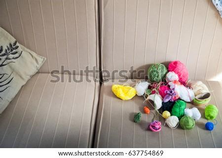 Multicolored tangles of yarn. Multicolored threads  #637754869