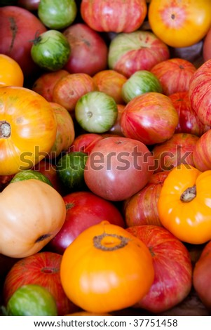 Multicolored tomatoes in a pile at the market