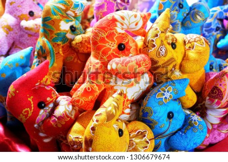 Multicolored Traditional Fabric Stuffed Elephants Selling at the Street Market