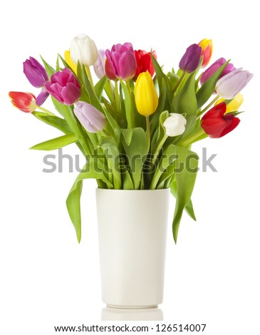 Multicolored tulips in a vase, isolated on white background #126514007