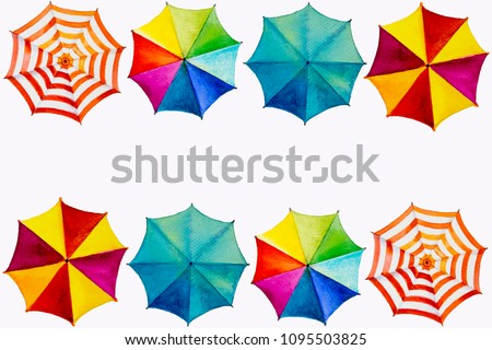Multicolored umbrella, watercolor painting Top view colorful of summer, holiday and tourism business sea, beach resort, market, texture, background, Hand painted abstract illustration, copy space