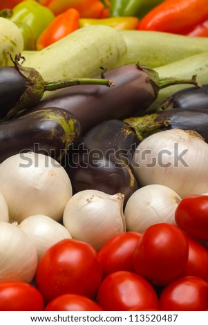 Multicolored Vegetable Variety background, closeup