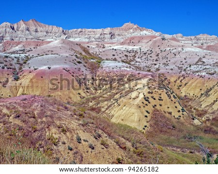 Multicolored view at The Conata Basin Overlook in the Badlands National Park, South Dakota