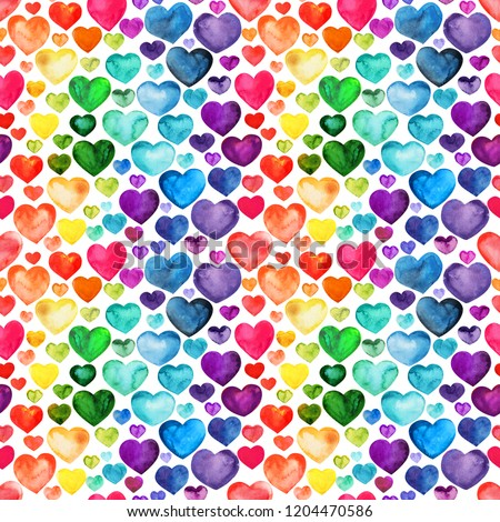 Multicolored watercolor hearts seamless backgroung. Different size rainbow hearts pattern.