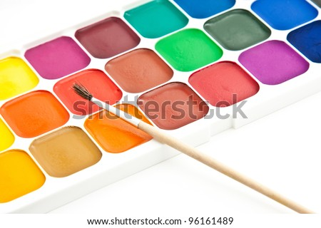 Multicolored watercolour paint on white background