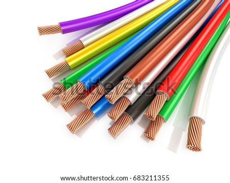 Multicolored wires on a white background. 3D illustration